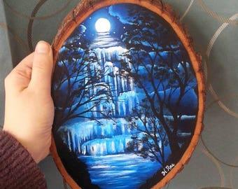 Lunar Waterfall original painting on wood