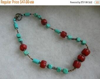 Spring Sale Large Impressive Vintage Coral & Turquoise Chocker Necklace