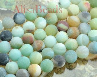 Amazonite,matte round,beads,10mm,15 inches