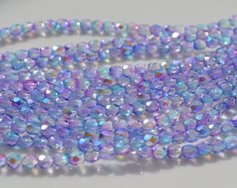 Pink and Lavender AB 4mm Faceted Fire Polish Round Czech Glass Beads  50