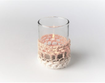 Tea light / candle holder / Beige / set of 2 / wedding / glass / mini / handmade / votive Cup / cotton / eco friendly / the dusty hovel