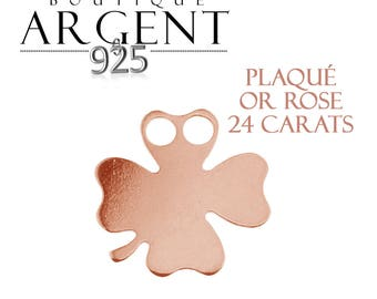 Charm 11.8 mm 925 sterling silver plated rose gold clover with two holes