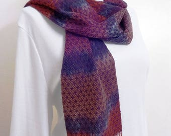 Hand Woven Tencel Scarf - Hand-dyed Scarf in Cranberry colors, Handwoven Scarf, Woven Scarf, Tencel Scarf (17-07A)