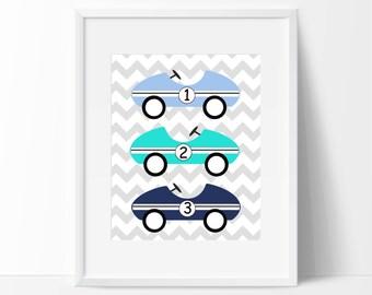 Baby Boy Nursery Wall Art Print, Racing Car Nursery Art Print, Kids Car Art Print, Baby Boy Nursery Wall Decor Print - Custom Color - H134