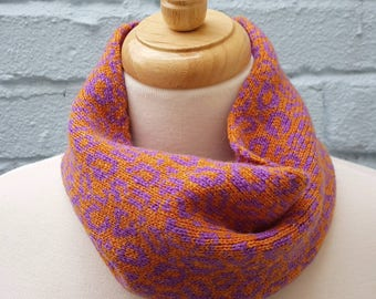 Knitted Leopard Print Cowl/Snood made from Shetland Wool - Orange & Purple, Sustainable, Cycling, Animal Print, Gift for Mum, mothers day