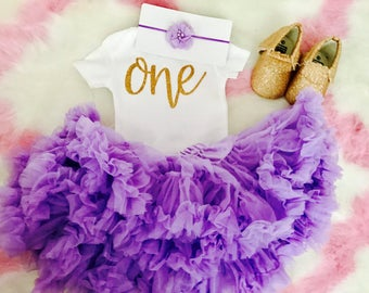 First Birthday Outfit Girl Purple   Purple Tutu   1st Birthday Girl Outfit Purple   Baby Girl First Birthday Outfit