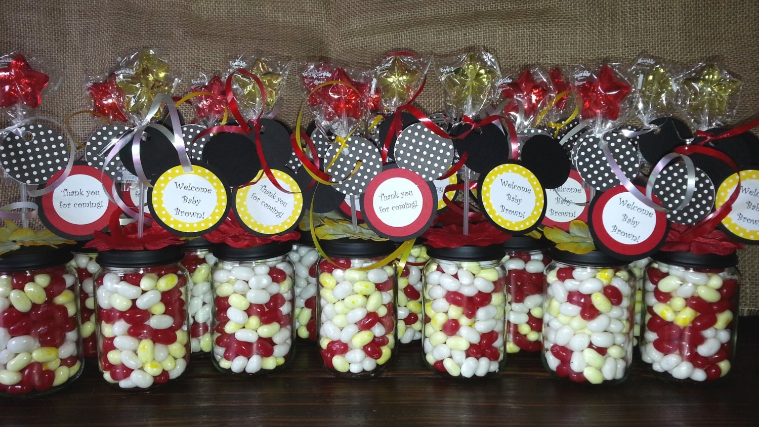 Personalized Disney Wedding Gifts: Personalized Mickey Mouse Clubhouse Baby Food Jar Party Favors