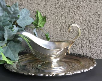 Georgian Scroll Silverplate Gravy Boat & Underplate Oneida Silver Plate Vintage Silverplated Set In Box - #J2028