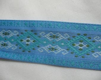 Geometric woven aztec blue ribbon trim lace - 2 yard