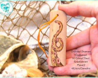 Tentacle Driftwood Art Ornament, Pyrography and Pencil, #DWOR3