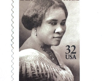 10 Madam C.J. Walker Postage Stamps // African American Entrepreneur and Philanthropist // Sepia Postage Stamps for Mailing