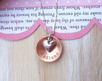 Personalized Girls Name Necklace... Flower Girl Gift, Flower Girl Necklace Junior Bridesmaid, Flower and Heart, Children's Jewelry
