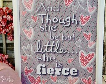 She be but little sign pdf digital - gray pink valentine fierce vintage words paper