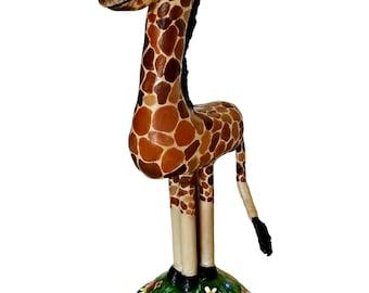 Baby Giraffe Sculpture, Paper Mache Giraffe, Giraffe Figurine
