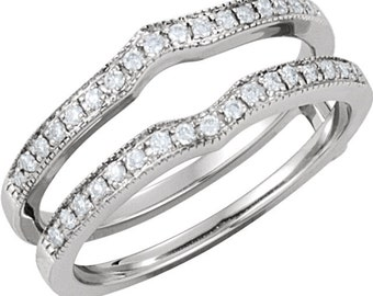 14K White Gold 1/4 CTW Diamond Ring Guard Enhancer CKL62397