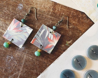 gift for her, economic gift, handmade earrings, square earrings, polyshrink earrings, shrink plastic earring, handmade, made in Italy, chic
