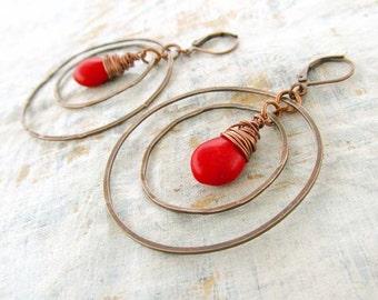 red earrings / big hoop earrings / stone earrings / boho earrings / Bohemian jewelry