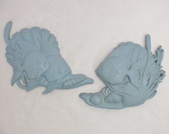 Vintage Fish plaques, bathroom fish, Two blue Burwood Products fish plaques