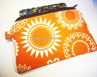 Sale Orange Doily women wallet, zip coin purse, pouch, porte carte, portefeuille, id1370268, travel organizer, portmonaie, gift for her,