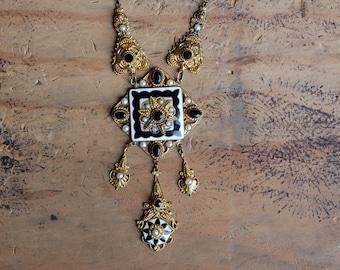 Antique Art Deco 1930s Czech glass black white gold statement necklace