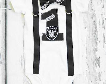 Boy first birthday Oakland Raiders Theme, NFL Onesie, Bow tie and Suspenders set, Boy Cake Smash,  Boy number 1, Boy birthday, Boy Second