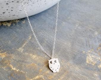 Silver Owl Choker, Owl Necklace, Minimalist Choker, Dainty Choker Necklace, Sterling Silver Necklace, Charm Choker, Animal Necklace, Boho