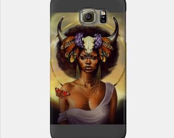 Taurus Samsung Galaxy Phone Case African American Zodiac Goddess Black Girl Magic  Afrofuturism
