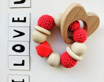 Teething ring Valentines Day edition