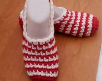 Red White Women's Crochet Slippers, Warm Crochet Slippers Sock, Cozy Crochet Slippers, Winter Home Slippers, Women's Soft Slippers