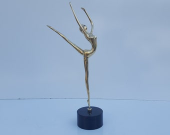 "Vintage Solid Brass ""Gymnast Girl "" Table Sculpture ."