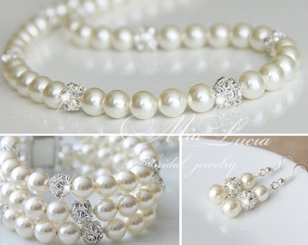 Wedding Jewelry Set, Pearl Bridal Jewelry Set, Bridal jewlery set,  Wedding jewlery set, bridal pearl jewelry for brides, art e02-b06-n01