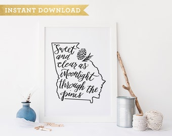 Georgia on My Mind Quote Instant Download Printable