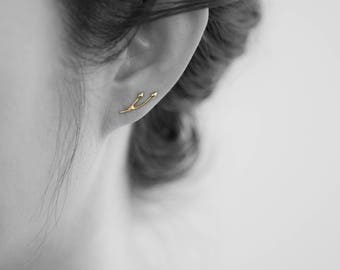 Gold Ear Climbers, 14k Solid Yellow Gold, Bud Ear Climber Earrings, sold as a pair, twig ear pins, contemporary earring