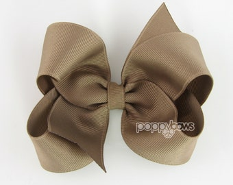 Taupe Hair Bow - 4 Inch Classic Boutique Hairbow - Baby Toddler Girl - Solid Color Basic Hairbows