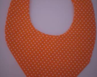 "Orange ""confetti"" 0-3 months baby bandana bib"
