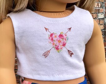 American Made Doll Clothes | Floral Heart with Arrows CROP TANK TOP for 18 inch doll