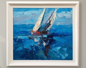 Sailing Painting Oil Painting on Canvas Blue Wall Art White Sail Boats Painting Sailboat Painting Nautical Painting Regatta Sailing Art