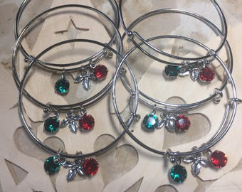 Mistletoe Kiss Christmas Swarovski Crystal Expandable Bangle Bracelet