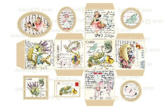 Instant digital gift box easter tags vintage printable instant digital gift box easter tags vintage printable template vintage easter bunny chicks children negle Choice Image