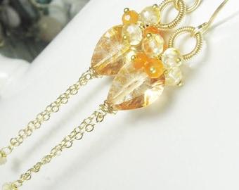 Apricot Quartz Carnelian Citrine Dangles, gemstone earrings, clusters, tassel earrings