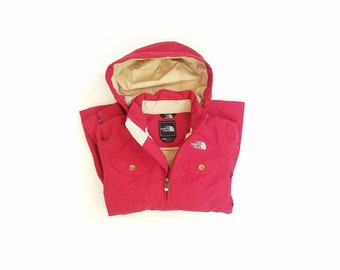 Womens XS Small The North Face Hyvent Hooded Parka Rain Coat Jacket Red and Tan Windbreaker Hiking Hiker Fashion Hipster Preppy Style