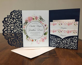 Gorgeous Navy and Blush Laser Cut Wedding Invitations with Floral Design Pocket Wedding invitation Die Cut Laser Cut Traditional Blush Navy