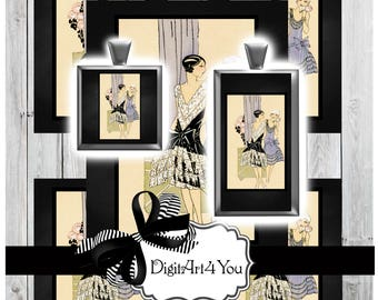 High Resolution Digital Download Collage of Vogue Pattern Fashion Models. Haute Couture Illustration of High Fashion. Inchies and Dominoes.
