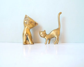 Two Vintage Brass Cute Cat Figures collection- Collectible Brass Figurines Scandinavian 1960s
