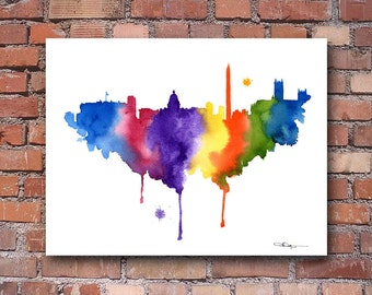 Washington DC Skyline - Abstract Watercolor - Art Print - Wall Decor