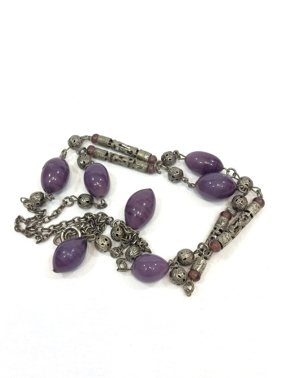 Art Deco Beaded Flapper Necklace, Long Lavalier, Silver Filigree, Egg Shaped Purple Glass Beads, Gatsby 1920s Jewelry, Chinese Antique