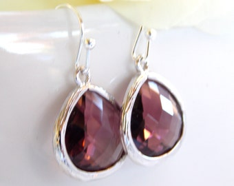 Wedding Jewelry, Plum Earrings, Eggplant, Purple, Burgundy, Silver, Bridesmaid Jewelry, Earrings,Dangle,Bridesmaids Gifts,Wedding Gifts,Drop
