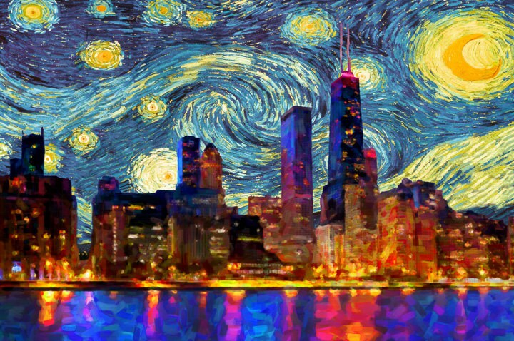 Chicago Skyline Poster Van Gogh Starry Night Print Chicago