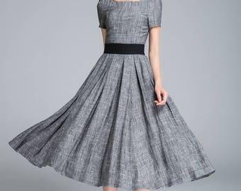 grey dress, linen dress, fit and flare dress, pleated dress, ladies dress, party dress, square neck dress, classic dress, summer dress 1762