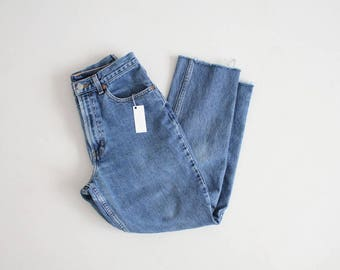 cut crop high waisted jeans | cropped jeans | fitted mom jeans